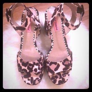 Betsey Johnson platform velvet leopard sandals
